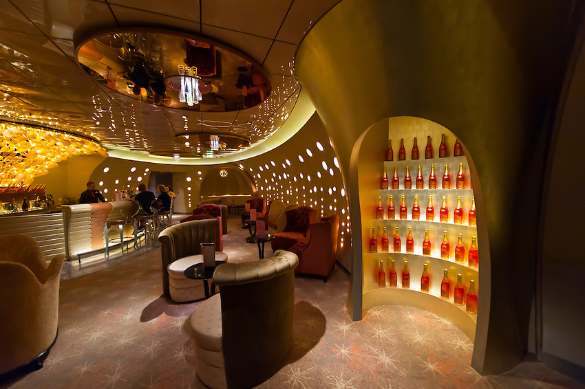 """Pink (champagne bar), """"The District"""" bar and night club area on the new Disney Dream cruise ship sailing between Florida and the Bahamas."""